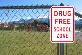 NZ Detector Dogs Suports Drug  Free Schools. Drug Free School Zone sign